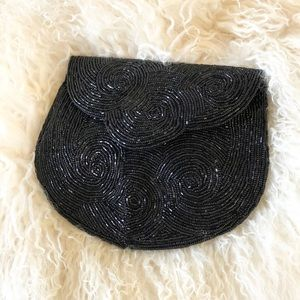Vintage 70's Black beaded clutch bag Clamshell